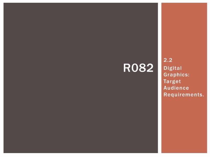 R082 - Creating Digital Graphics, Target Audience [LO2.2], CAMNATS, Creative iMedia Lvls 1/2