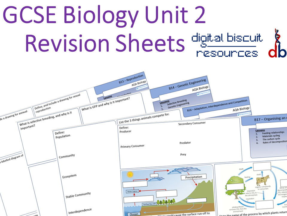 New AQA 9-1 Biology Unit 2 Revision Sheets