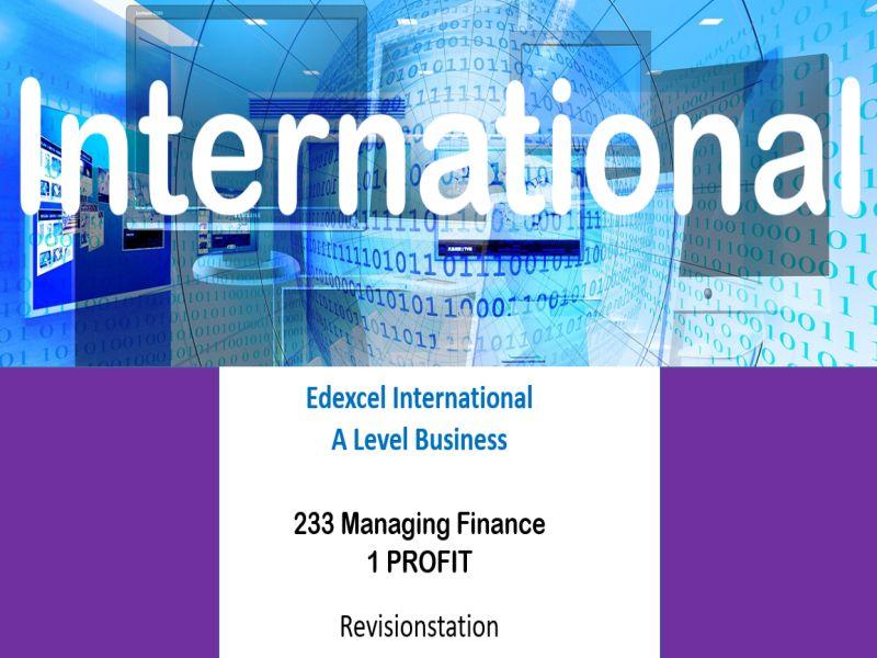 Pearson Edexcel International A Level Business (233) 1 Profit