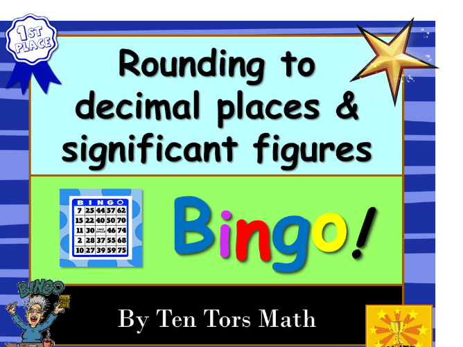 Estimation - rounding to decimal places & significant figures bingo game