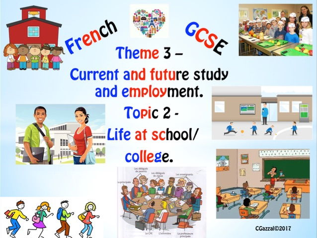 French GCSE New Specs Theme 3 - Current, future study /employment, Topic 2 – Life at school/college