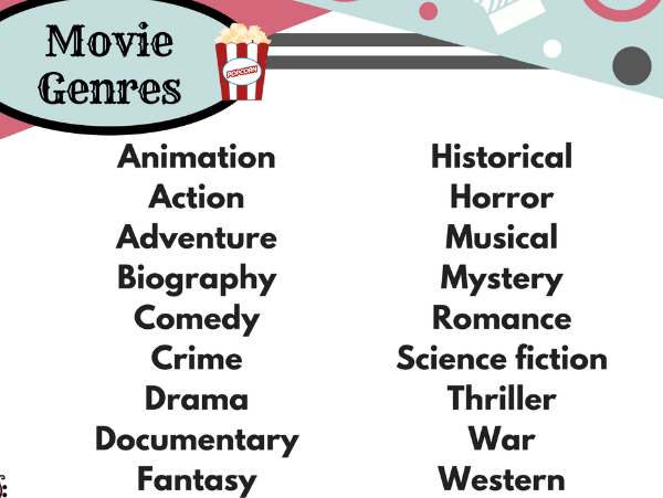 Movie Genres List - Free resource!
