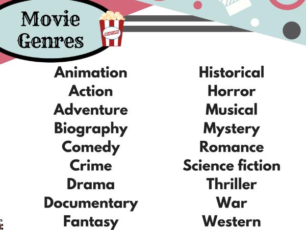 Movie Genres List - Free resource!