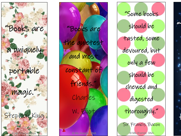 Book/Reading Quote Bookmarks
