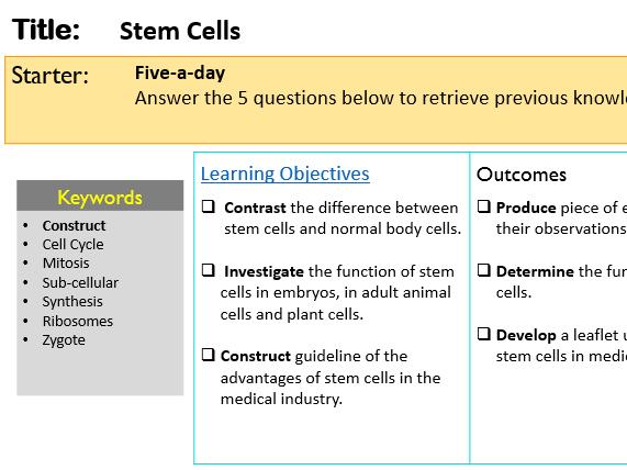 KS4 GCSE Stem Cells