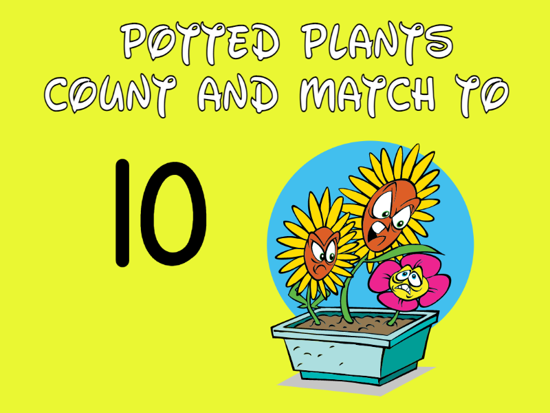 Plants in Pots Cut, Count and Match to 10