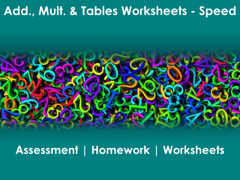 2 Pgs Addition and Times Tables + Answer Keys - 200 questions. Speed Quiz.