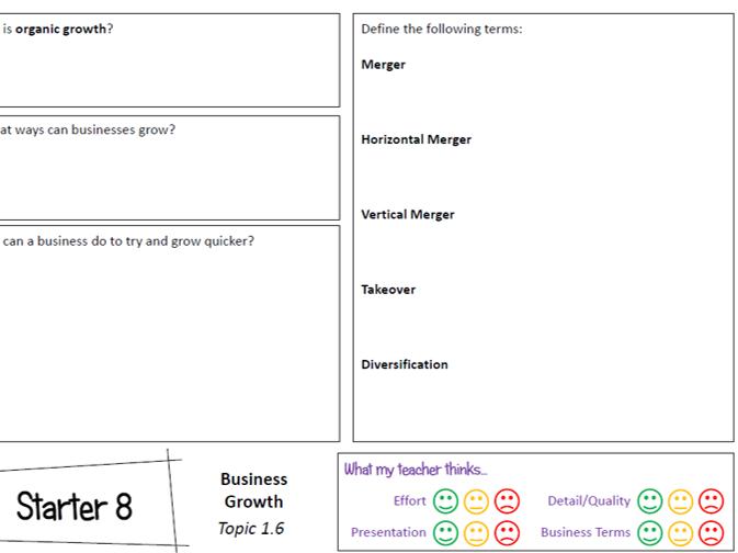 OCR GCSE Business Studies (J204) Lesson Starters Booklet 1a - Business Activity (8 Activities!)