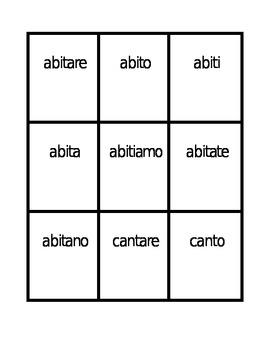 Verbi con ARE (ARE Verbs in Italian) Present tense Spoons game / Uno game
