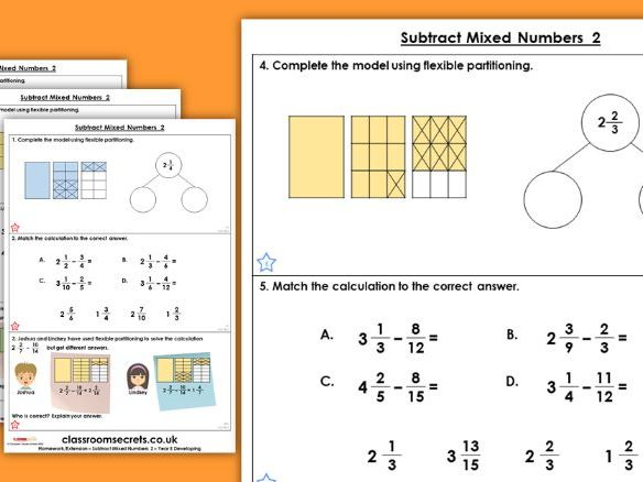 Year 5 Subtract Mixed Numbers 2 Spring Block 2 Maths Homework Extension