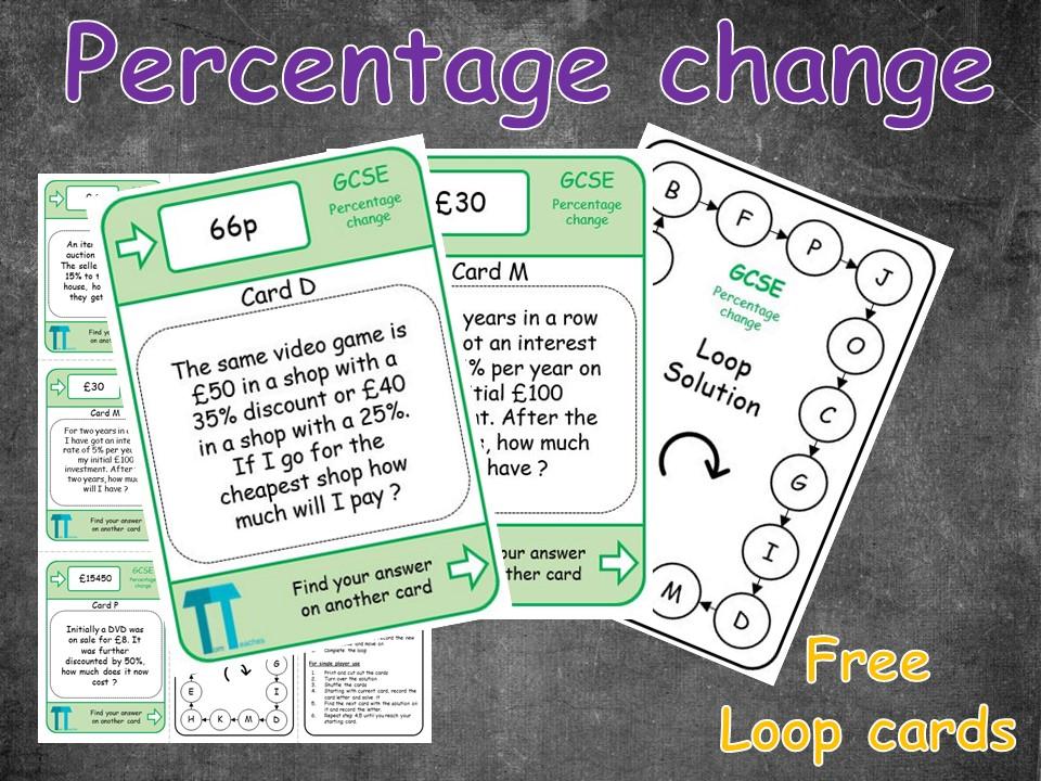 Percentage change of amounts (Loop cards/Treasure hunt)