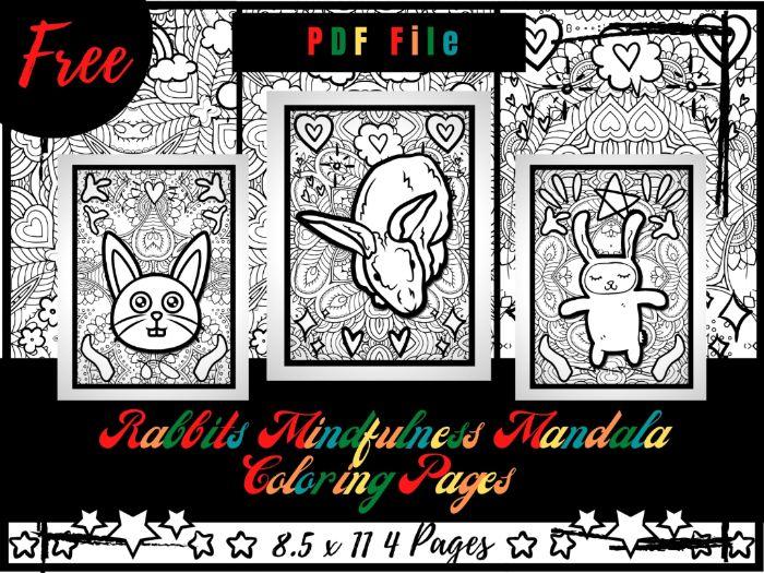 FREE Rabbits Mindfulness Mandala Coloring Pages, Animals Coloring Printable PDF