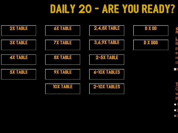 Daily 20 - Mental Multiplication Questions