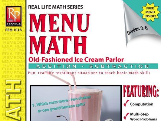 Consumer Addition & Subtraction: Ice Cream Parlor Menu