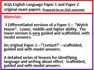 AQA GCSE English Language Paper 1, Paper 2 and Language identification and effect