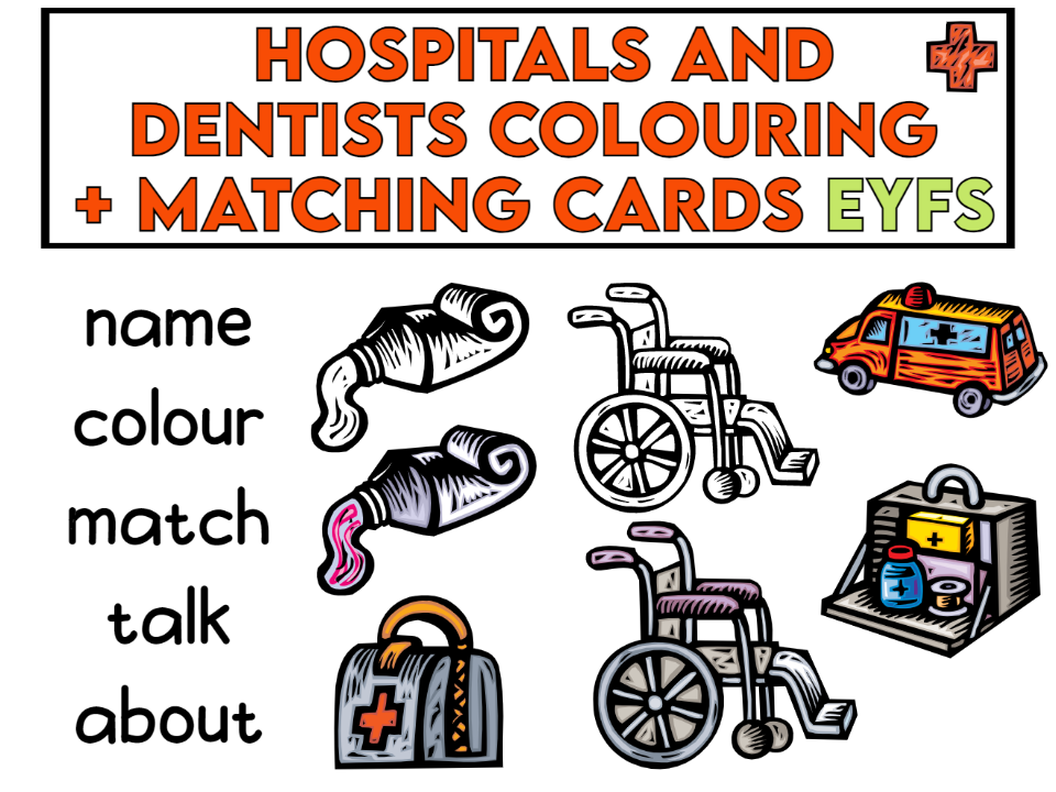 Hospital and Dentists Colouring Cards EYFS