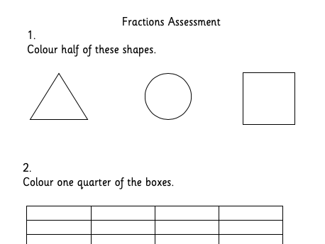 Fractions Assessment 1st Level/KS1