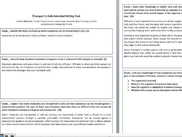 Transport in Cells Extended Writing - AQA Trilogy