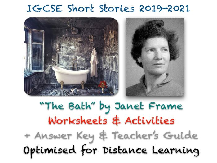 """IGCSE Short Stories: """"The Bath"""" by Janet Frame - Story, Worksheets + EXAM Questions + ANSWERS"""