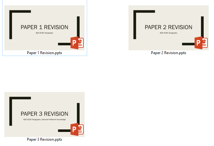 AQA 9-1 GCSE Geography Paper 1, 2 and 3 Complete Revision PowerPoints