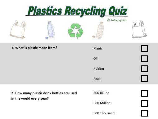 Plastic recycling quiz. KS2, KS3.