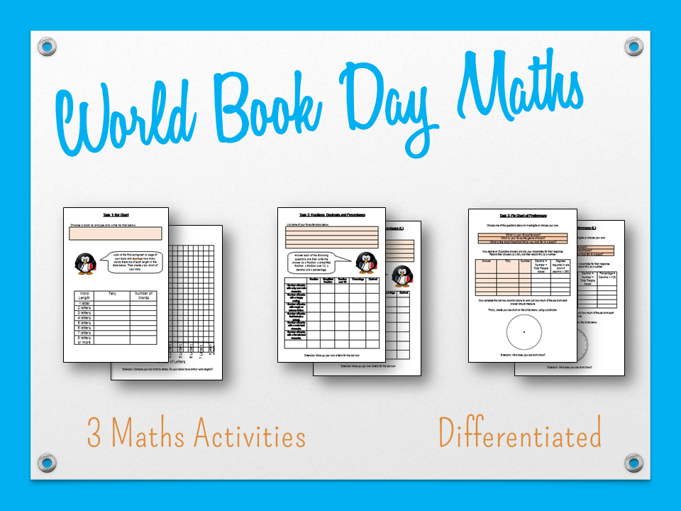 World Book Day Maths - KS2 and KS3 - Analysing Books - 3 Separate Activities Included