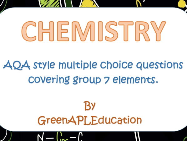AQA style A Level Group 7 Elements Multiple Choice Chemistry Questions