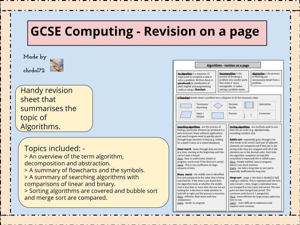 GCSE Computing Revision: Algorithms