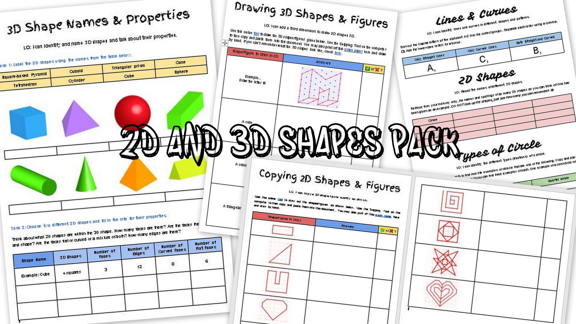 2D & 3D Shapes and Properties Worksheet Pack