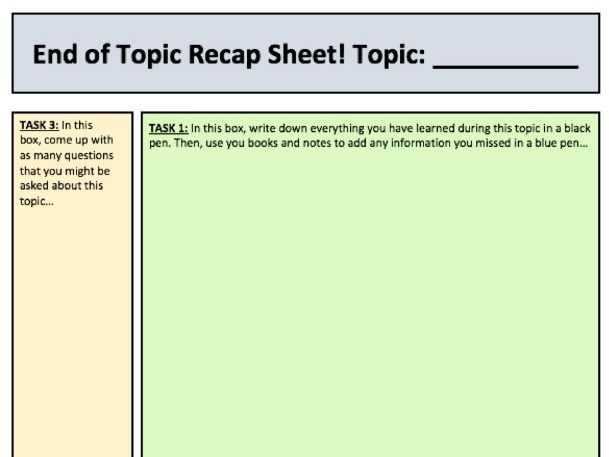 End of topic recap / summary sheet