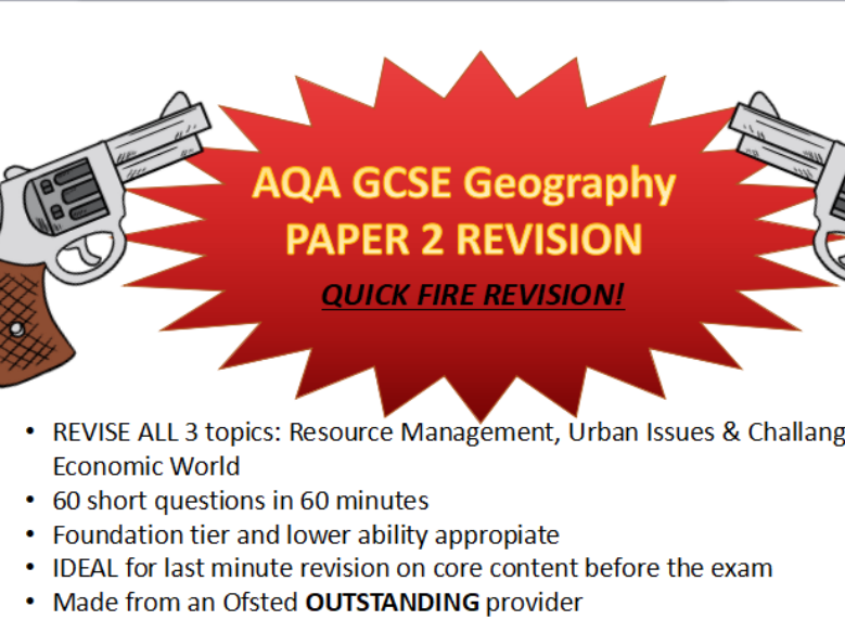 Human Geography paper 2 quick fire revision questions for lower and middle ability