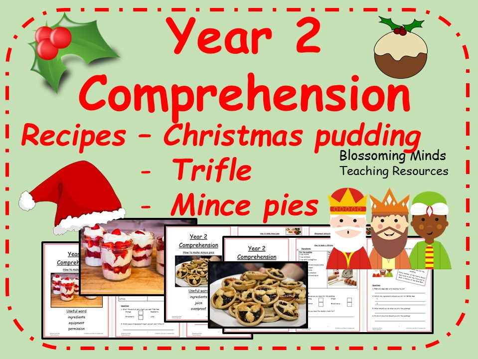 Year 2 Christmas recipe comprehension bundle