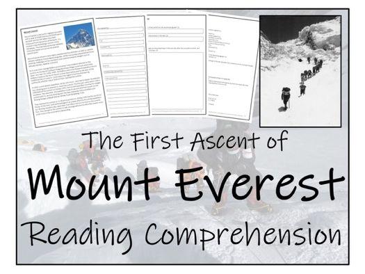 UKS2 Geography - Mount Everest Reading Comprehension Activity