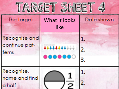 Maths target sheet Year 1