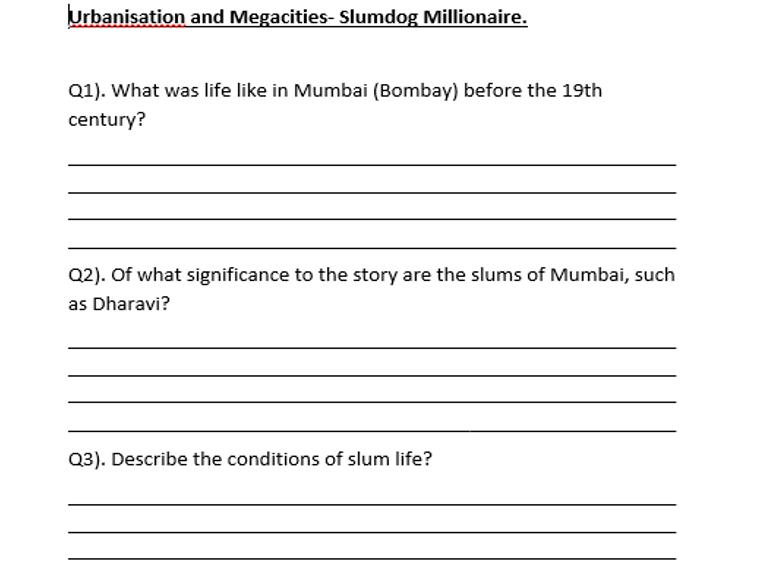 Slumdog Millionaire- Film Worksheet- Geography