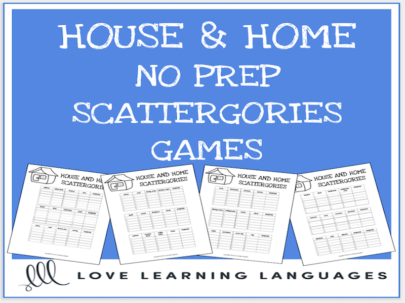House and Home printable no prep scattergories games - English ...