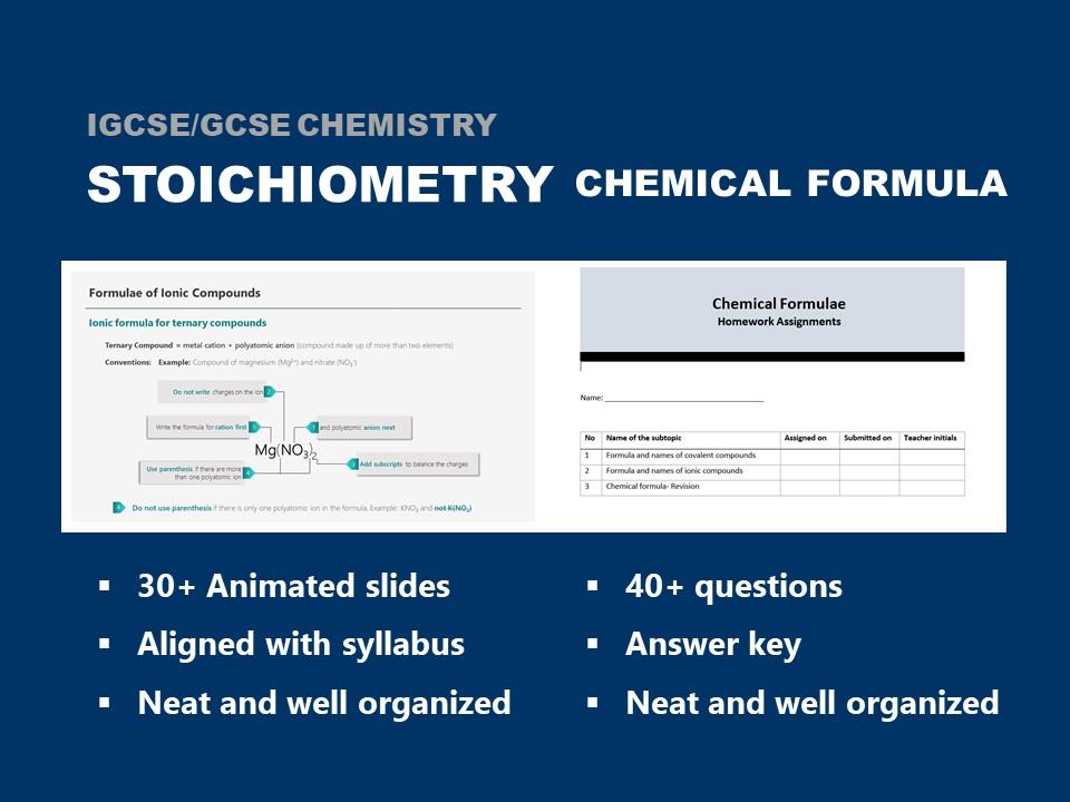 IGCSE/GCSE  Chemistry- Stoichiometry- Chemical Formulae