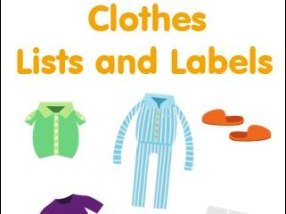 Clothes Lists and Labelling Worksheets