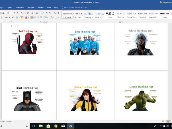 De Bono's Superheroes Thinking Hats Worksheet - A3 Poster