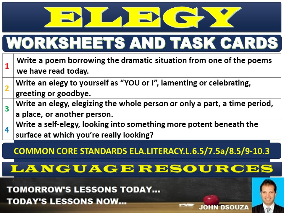 ELEGY WORKSHEETS AND TASK CARDS