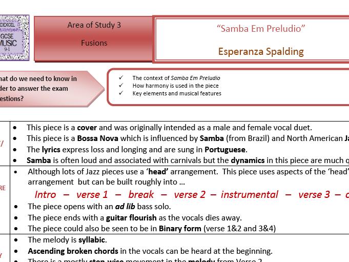 GCSE Edexcel 9-1 MUSIC 'Samba Em Preludio' Esperanza