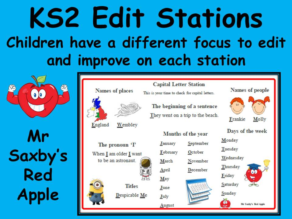 Edit Station Literacy English editing station for KS2 self check work Creative Writing