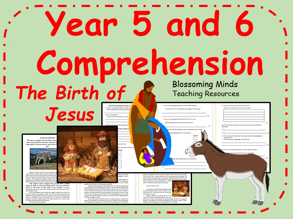 Year 5 and 6 Christmas Story Comprehension - The Birth of Jesus