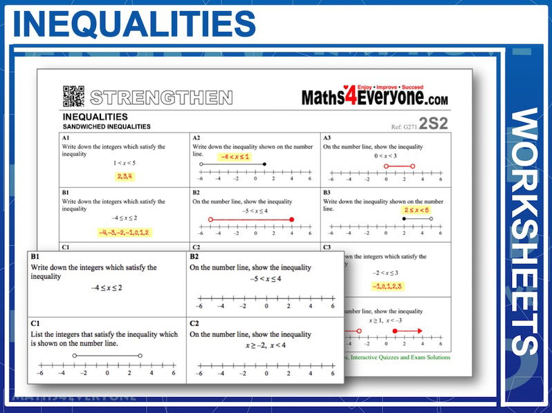 Inequalities (Differentiated Worksheets)