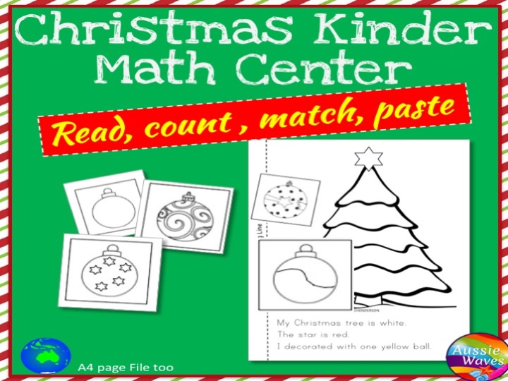 Christmas Kinder Maths Centre Activities Cut & Paste Craft Counting Numbers 0-10