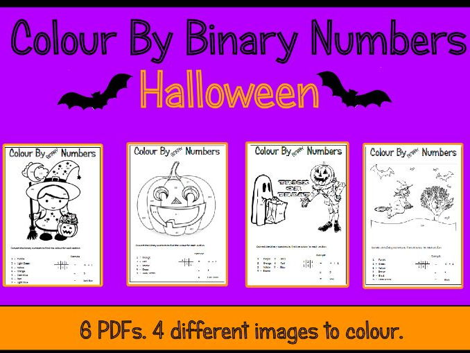 Halloween Colour By Binary Numbers
