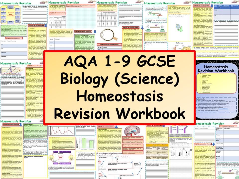 AQA 1-9 GCSE Biology (Science) Homeostasis Revision Workbook