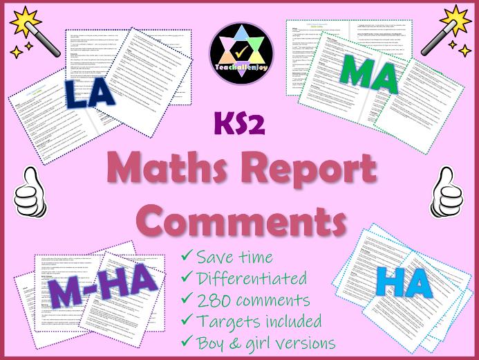 Maths Report Comments