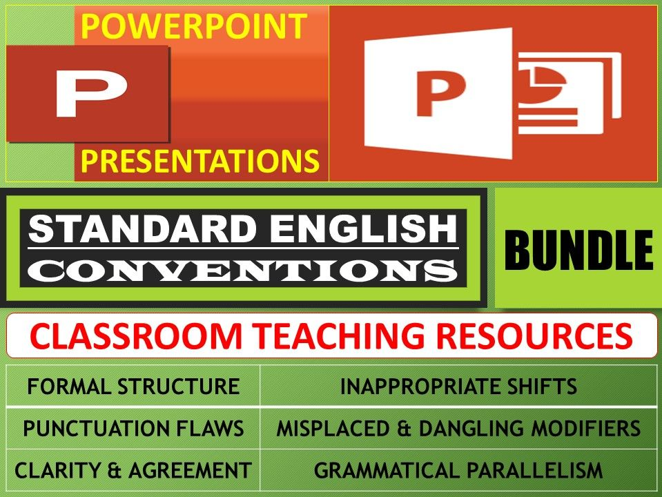STANDARD ENGLISH CONVENTIONS: POWERPOINT PRESENTATIONS - BUNDLE
