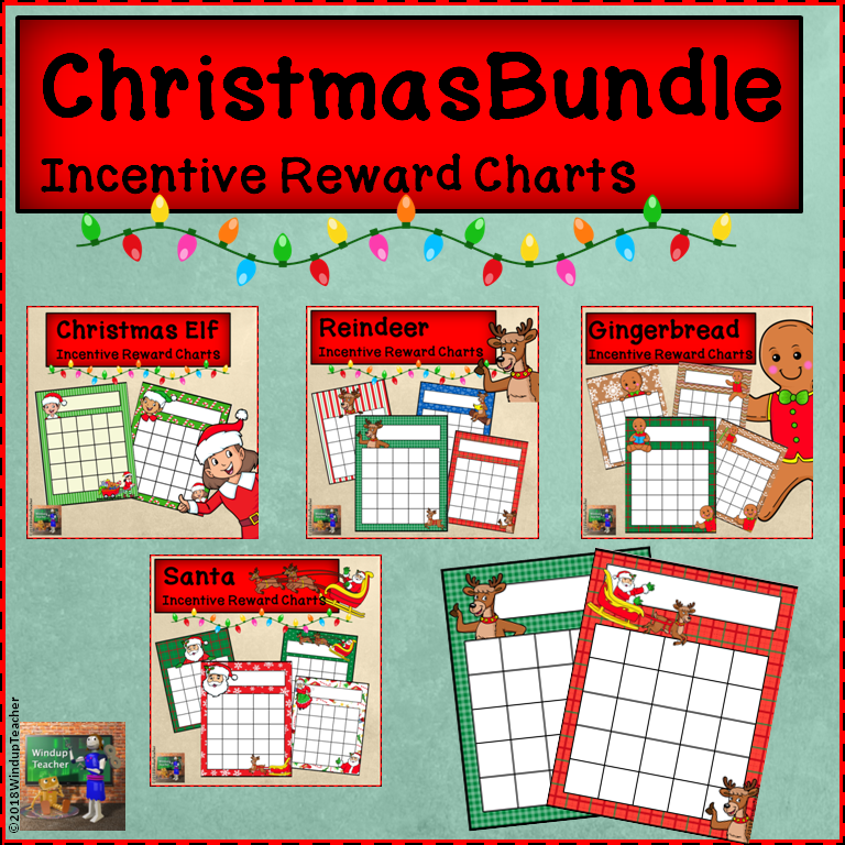 Christmas Character Incentive Reward Sticker Charts * BUNDLE